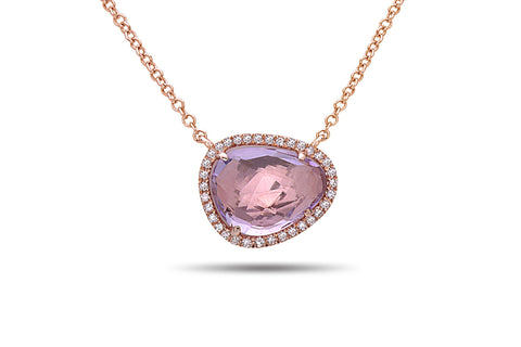 Dilamani Rose Cut Bean Pink Amethyst &  Diamond Halo Pendant  AP81620AM-800R