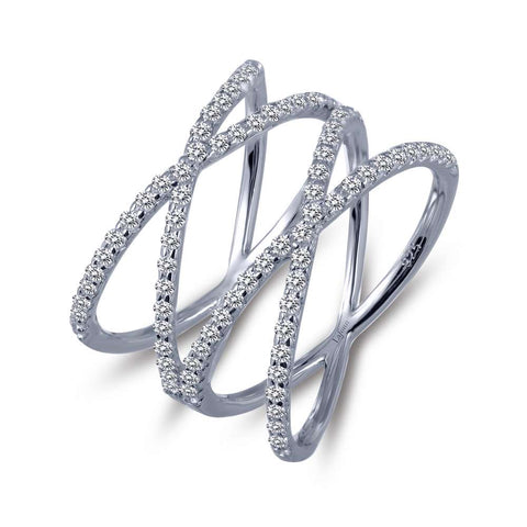 Lafonn Sterling Silver & Platinum Double Criss Cross Ring with Round Lassaire Simulated Diamonds