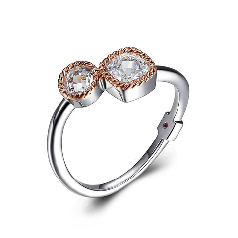 ELLE Sterling Silver and Rose Plated Ring R03607