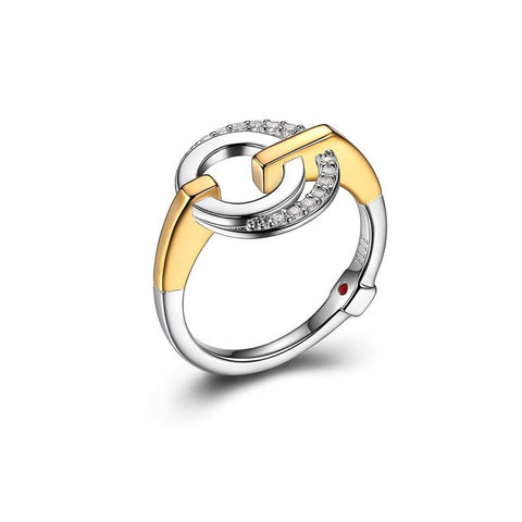 ELLE Sterling Silver and Gold Plated Ring R04357