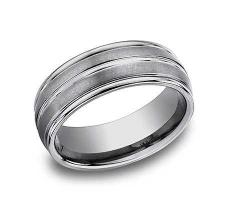 Benchmark Tungsten Comfort Fit  Wedding Band With Three High Polished Lines and Satin Finish In Between