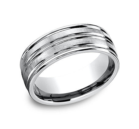 Benchmark 14k White Gold Comfort Fit Wedding Band With Double Banded Look That Has Both Satin And High Polish Finish