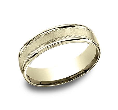 Benchmark 14k Yellow Gold Comfort Fit Carved Wedding Band With Satin Finish Center, High Polish Outside And Milgrain