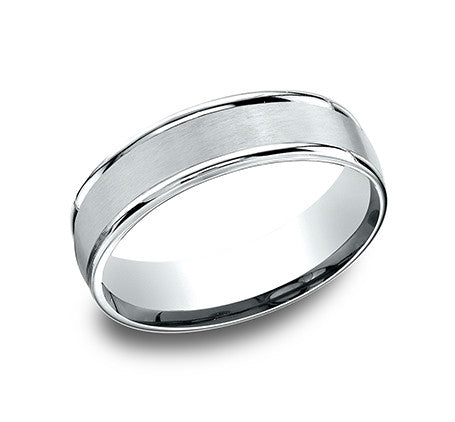 Benchmark 14k White Gold Comfort Fit Wedding Band With Satin Finish Center And High Polish Round Sides
