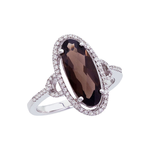 Brevani Long Oval Smoky Topaz and Diamond Ring RM2863W-ST