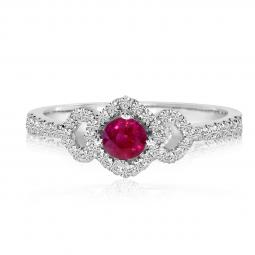 14K White Gold Precious Ruby and Diamond ring