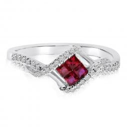 14K White Gold Princess Ruby and Diamond Precious Square Fashion Ring
