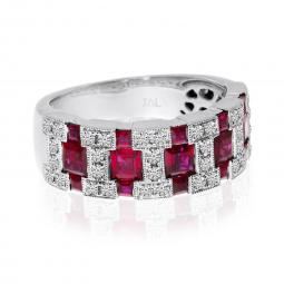 Brevani 14K White Gold Princess Ruby and Diamond Wide Band