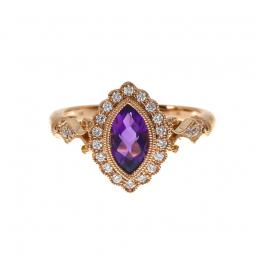 Brevani 14K Rose Gold Marquise Amethyst and Diamond Braided Ring rm3895p