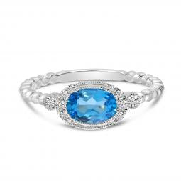 14K White Gold Oval Blue Topaz and Diamond Ball Band Ring