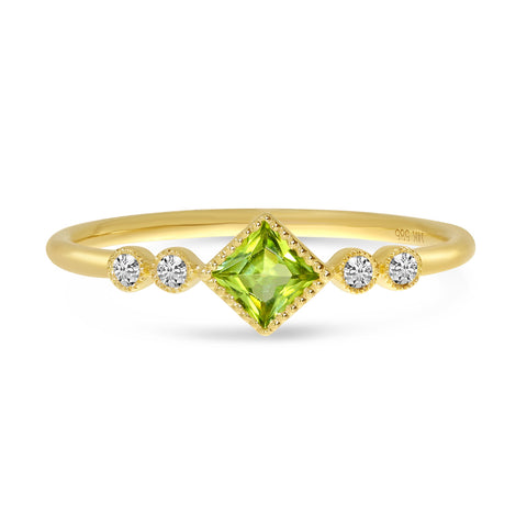 Brevani Princess Peridot and Diamond Dainty Ring RM4268-08