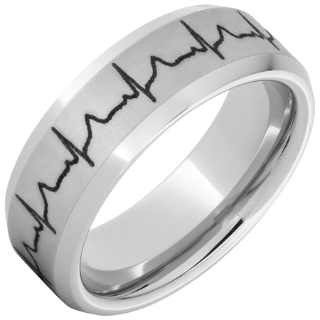 Serinium® Beveled Edge Band with Heartbeat Laser Engraving