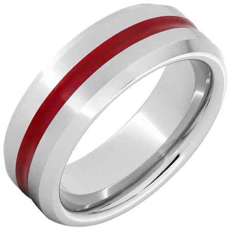 Serinium® Beveled Edge Band with Red Inlay