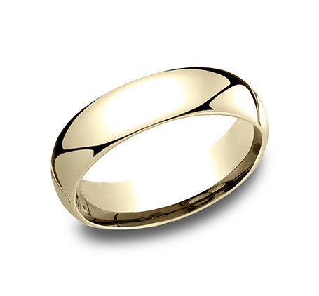 Benchmark 14k Yellow Gold Regular Comfort Fit Wedding Band With A Slight Domed Top