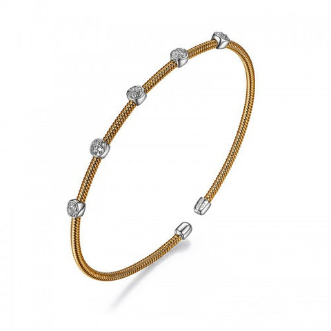 ELLE Sterling Silver Rose gold plated cz Cuff Bracelet