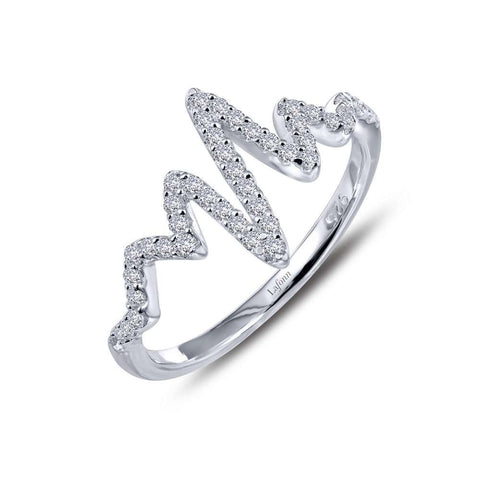 Lafonn Sterling Silver & Platinum Heartbeat Ring size 10
