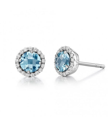 Lafonn Sterling Silver Bonded with Platinum March Birthstone Earrings