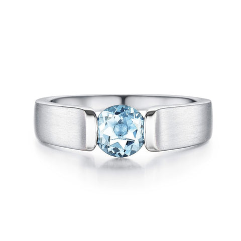Bentelli Sterling SIlver and Blue Topaz Ring