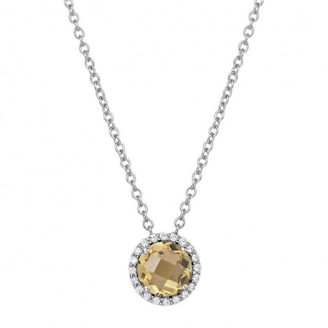 Lafonn Sterling Silver and Platinum November Citrine Birthstone Halo Pendant