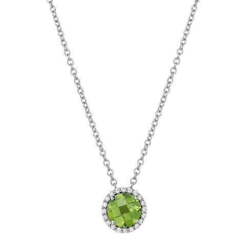 Lafonn Sterling Silverr and Platinum August Peridot Birthstone Halo Pendant