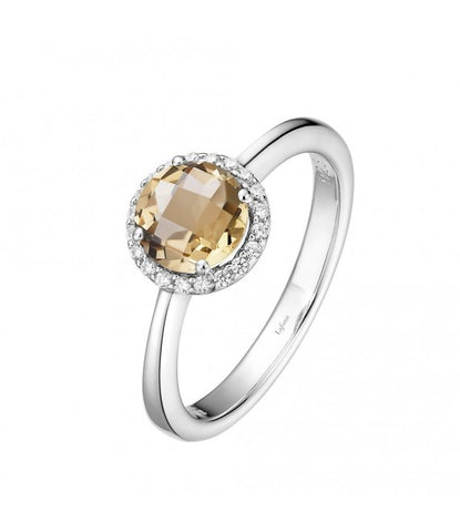 Lafonn Sterling Silver & Platinum November Citrine Birthstone Halo Ring