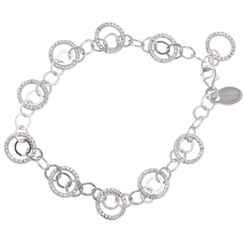 Frederic Duclos Sterling Silver Diamond Cut Circles Bracelet
