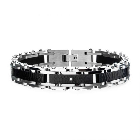 Two Tone Steel, Black Hammered Bracelet with CZ's