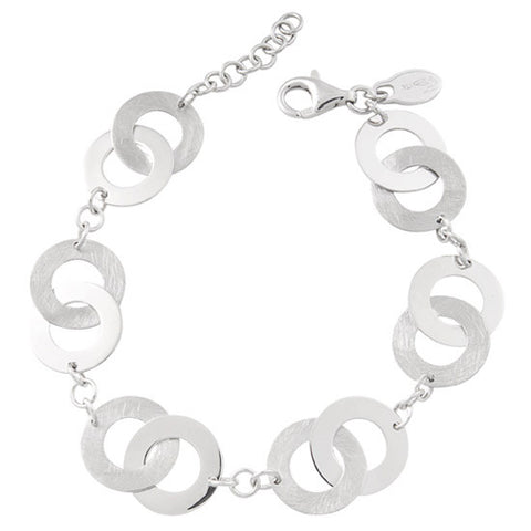 Frederic Duclos Sterling Silver Bright and Brushed Circle Link Bracelet