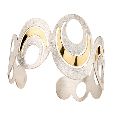Sterling Silver Yellow Gold Plated Oval Groove Cuff Bracelet
