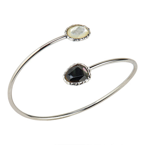 Sterling Silver Black & White Mother-Of-Pearl Cuff Bracelet
