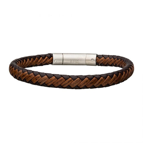 Dark & Light Brown Leather Bracelet with Steel Clasp