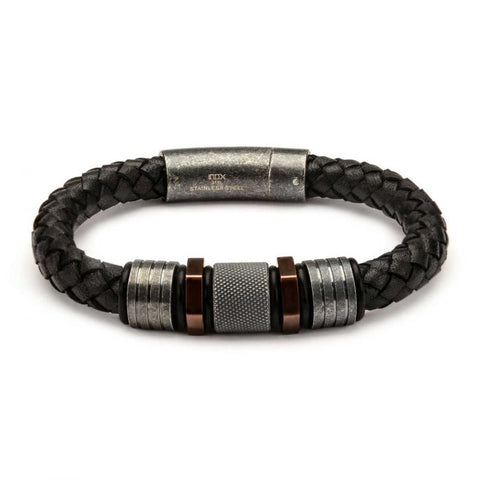 Black Braided Leather with Rose Gold Plated & Steel Beads Bracelet