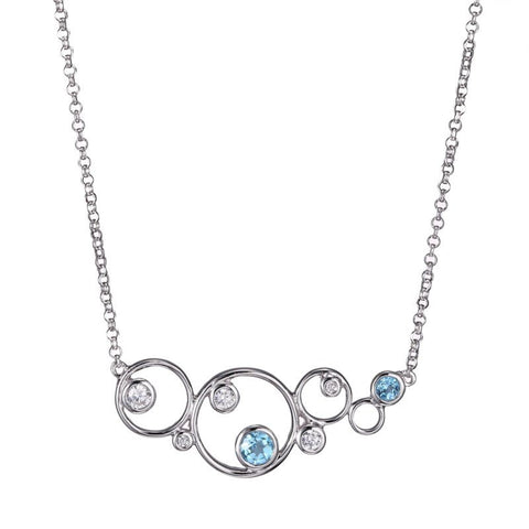 ELLE Blue Topaz Bubble Collection Necklace