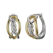 ELLE Swirl Collection Two Tone Earrings E10119YWZ