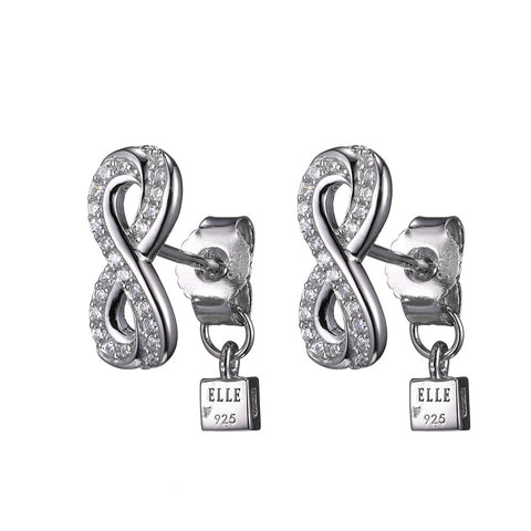 ELLE Infinity Collection Sterling Silver and CZ Earrings  e10095wz
