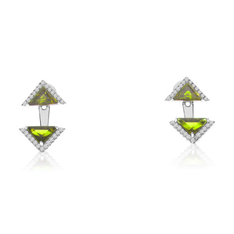 Brevani Peridot and Diamond Earrings e3887w-08