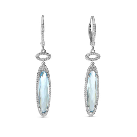 Brevani Fancy Long Oval Blue Topaz Dangle Earrings E4136W-12