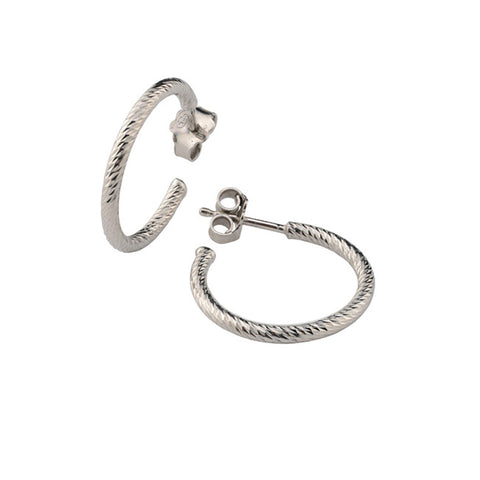 Frederic Duclos Sterling Silver Sparkle Hoop Earrings .75""