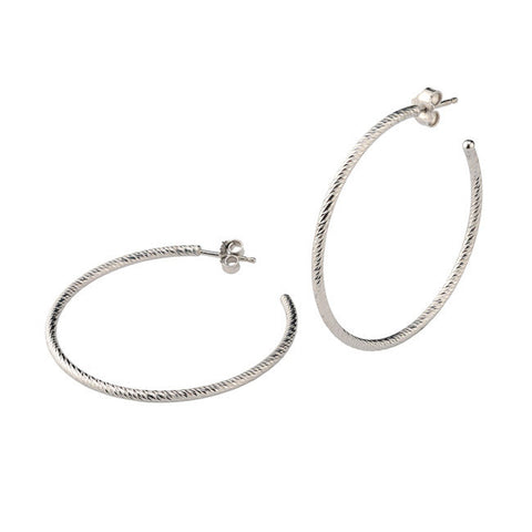 Frederic Duclos Sterling Silver Diamond Cut Hoop Earrings