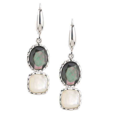 Frederic Duclos Sterling Silver Mother of Pearl Drop Earrings