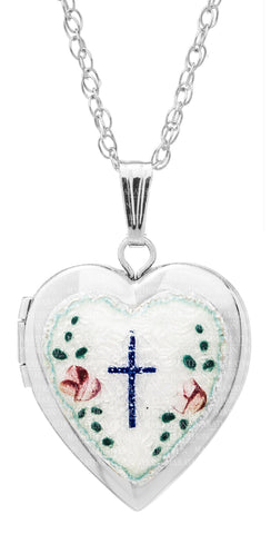 Kiddie Kraft Sterling Silver Enamel Heart Locket