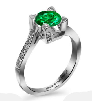 14kt White Gold Emerald and Diamond Fashion Ring