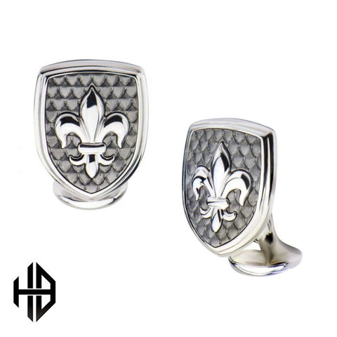 Hollis Bahringer Stainless Steel & Carbon Fiber Fleur de Lis Cuff Links