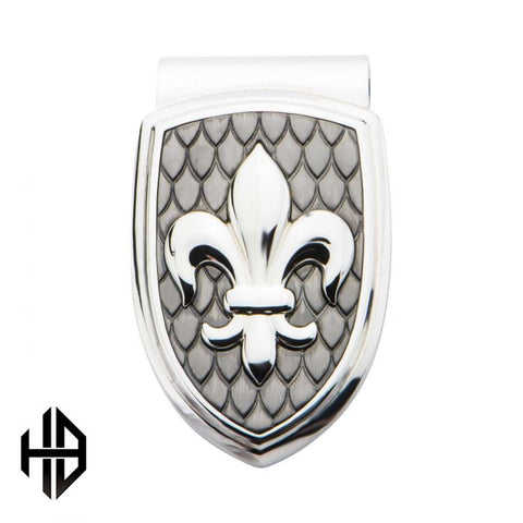 Hollis Bahringer Stainless Steel & Carbon Fiber Fleur de Lis Money Clip