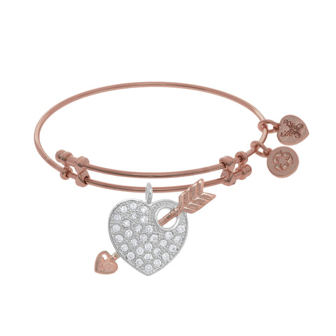 Women's Angelica Pink Brass Expandable Bracelet Heart and Arrow Charm PGEL1768