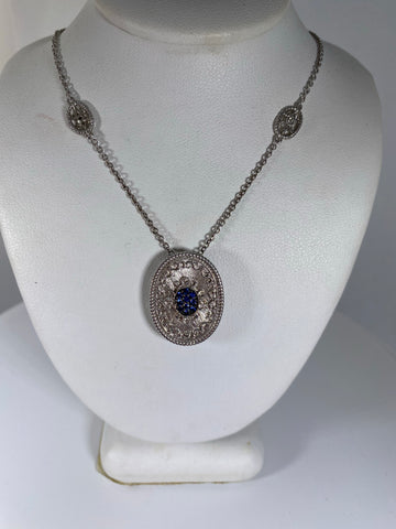 Sterling Silver Sapphire and Diamond Oval Pendant