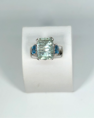 Sterling Silver Green Amethyst and Blue Topaz Contemporary Fashion Ring