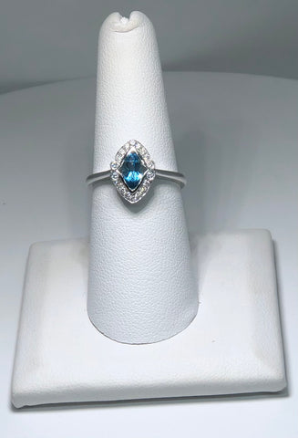 14K White Gold Marquis Blue Topaz and Diamond Ring