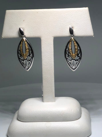Lady's Sterling Silver & Yellow Gold Earrings With 18=0.09Tw Round Diamonds