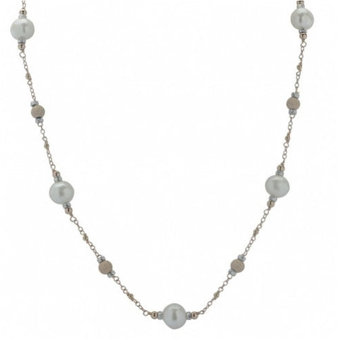 Imperial Delhta Lady's Sterling Silver Rose Gold Filled Bead Station Strand 18""